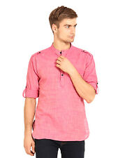 Svanik Men's Pink Solid Casual Short Kurta (SVCK1202)