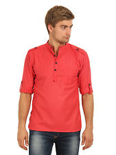 Svanik Men's Red Solid Casual Short Kurta (SVCK1398)