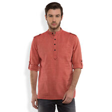 Svanik Red Self Design Cotton Casual Short Kurta (SVCK1540)
