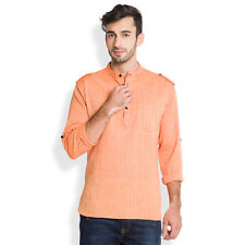 Svanik Orange Self Design Cotton Casual Short Kurta (SVCK1607)