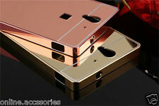 Aluminum Metal Bumper with Mirror Back Cover Case For SONY XPERIA C3 & C3 DUAL