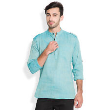 Svanik Blue Self Design Cotton Casual Short Kurta (SVCK1609)