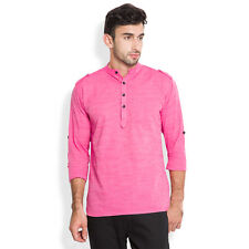 Svanik Pink Solid Cotton Casual Short Kurta (SVCK1612)
