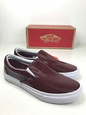 BNIB AUTHENTIC VANS SLIP ON BURGUNDY TUMBLE PATENT SKATE SHOES TRAINERS