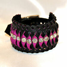 BRACCIALE in VERA PELLE con swarovski - LEATHER BRACELET CUFF with swarovski