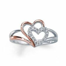 New Solid !! Two Tone Plated 925 Sterling Silver White CZ Double Heart Ring