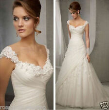 New White/Ivory Lace Bridal Gown Wedding Dress Custom Size 6 8 10 12 14 16 +++++