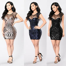 Sexy Women Bandage Bodycon Evening Party Cocktail Club Sequins Short Mini Dress*