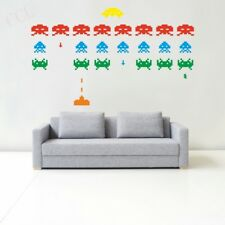 Gamer Vinyl Stickers SPACE INVADERS Video Game Play Room Wall Decal