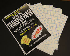 Inkjet Iron On T Shirt Transfer Paper For Dark Fabrics A4 & A3 Size Sheets