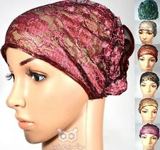 Shimmer Lace Volume Turban Bonnet Hat Cap Under Scarf Hijab Plain Floral Vintage