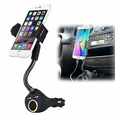 Dual USB 2-Port Car Charger Cell Phone Mount Holder for iPhone 3/4S/5S/5C/6 Plus