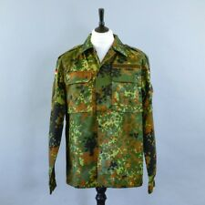 Vintage German Army Surplus Men's Green Camouflage Military Combat Shirt Grade 1