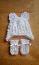 Handmade Crocheted Baby Unisex Cable Hat + Ears & Mitts  Acrylic various colours