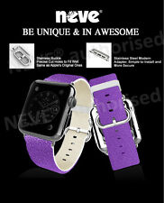 NEVE® Purple 38/42 mm Leather Stainless Steel Adapter Strap For Apple Watch 1 2