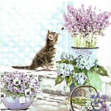 SERVIETTES EN PAPIER CHAT CHATON AU JARDIN&FLEURS. PAPER NAPKINS CAT&FLOWERS