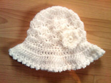 Handmade Crocheted Baby Girl Mop Hat with Flower 100% Acrylic various colours