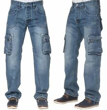 NEW MENS ETO DESIGNER STONE WASH CARGO COMBAT JEANS REDUCED BARGAIN PRICE 28-42