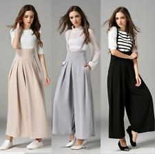 Women Wide Leg Flared Palazzo Dress Trousers High Waisted Cropped Pants Jumpsuit