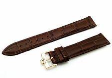18mm 19mm 20mm Genuine Leather Strap/Band fit Omega Watch DBrown YLW Gold Buckle