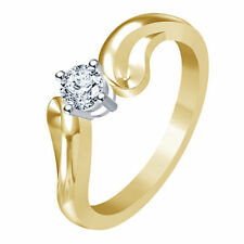 Riva jewels 925 Silver 14K Gold Over White CZ Wonderful Solitaire Ring