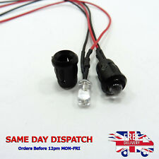 12v 5MM Flashing LED Diode Light Clear 20cm Cable Pre-Wired With Plastic Holder