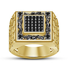 Black CZ 14k Yellow Gold Plated 925 Sterling Gold Plated Men's Kamasutra Ring 14