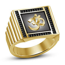 "New Men's Black CZ 14k Yellow Gold Plated 925 Sterling Silver Men's ""Om"" Ring"