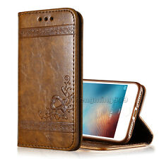 Genuine Real PU Leather Wallet Card Holder Flip Case Cover For iPhone