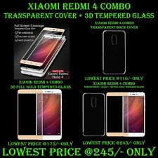 Combo Deal 3D FULL Xiaomi Redmi NOTE 4 Tempered Glass + Transparent Back Cover