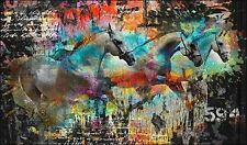 Micha Baker: Chevaux Toile sur cadre toile cheval collage moderne