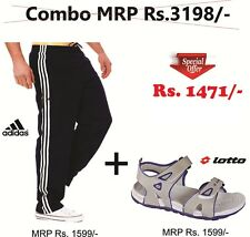 COMBO DEAL for MEN- Adidas Track Pants (Dark Navy Blue)+Lotto Sandal @ 54% OFF