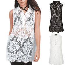 Womens Ladies Floral Net Lace Sleeveless Collared Button Swing Dress Top Blouse