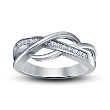 Awesome Design 925 Silver White Platinum Plated Simulated Diamond Band Ring