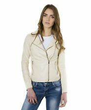 Giacca in pelle donna ELIS • colore beige • giacca biker in pelle effetto liscio