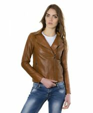 Giacca in pelle donna ELIS • colore cuoio • giacca biker in pelle effetto vintag