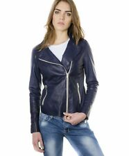 Giacca in pelle donna ELIS • colore blu • giacca biker in pelle effetto vintage