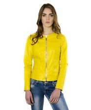 Giacca in pelle donna CLEAR • colore giallo • giacca in pelle girocollo effetto