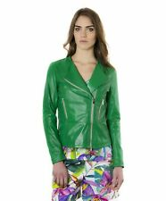 Giacca in pelle donna PINKO • colore verde • giacca biker in pelle effetto lisci