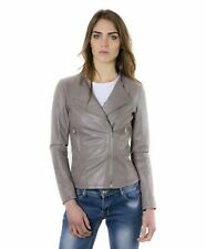 Giacca in pelle donna PINKO • colore grigio • giacca biker in pelle effetto lisc