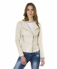 Giacca in pelle donna PINKO • colore beige • giacca biker in pelle effetto lisci