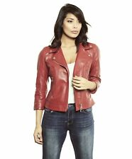 Giacca in pelle donna KCC • colore rosso • giacca biker in pelle biker nappa eff