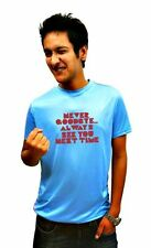 LetsFlaunt Never say goodbye farewell T-shirt Men's blue (LetsFlaunt-250-NW)