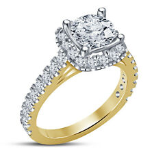 14K Gold Plated 925 Silver Solitaire With Accents Anniversary Ring RD White CZ