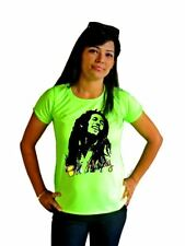 LetsFlaunt Bob Marley Music Women's T-Shirt Green Dry-Fit (LetsFlaunt-3137-NW)
