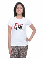 LetsFlaunt Fun Fear Women's T-Shirt White Dry-Fit Nw (LetsFlaunt-3219-NW)