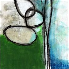 Linda Woods : Vert and bleu Abstract Toile sur cadre toile Abstract moderne