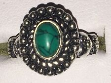 Indian Tribal Hippy Oval Cut Onyx & Malachite Silver Tone Ring Size R (8.75 US)