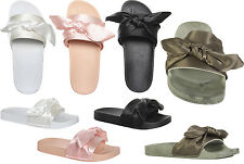 Womens Ladies Satin Front Tie up Bow Ribbon Sliders Shoes Slippers Size