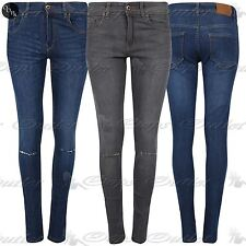 Womens Ladies Casual Knee Cut Out Rip Destroyed Trousers Denim Skinny Fit Jeans